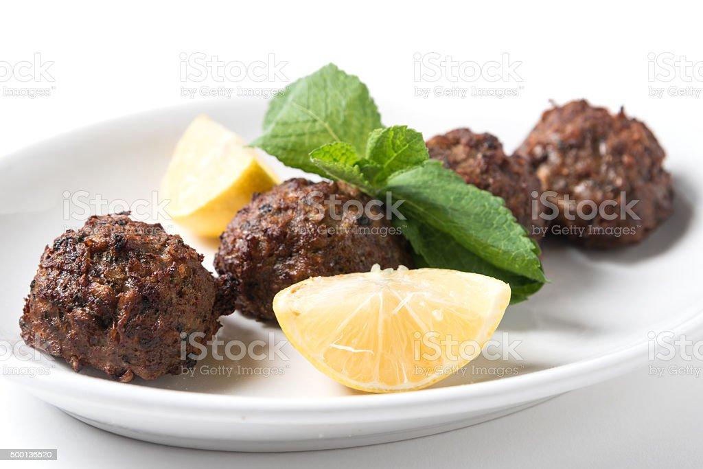 Keftedes (greek meatballs) stock photo