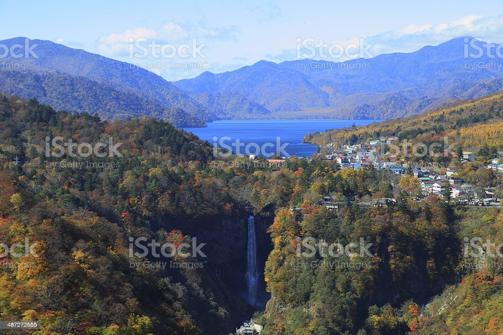Kegon Falls and Lake Chuzenji in NIkko, Japan. stock photo
