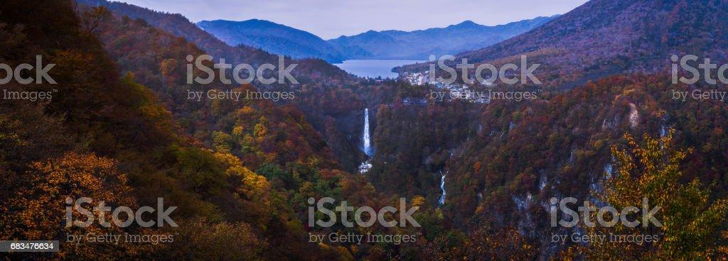 Kegon Falls in autumn stock photo
