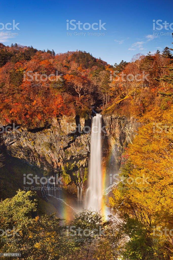 Kegon Falls near Nikko, Japan in autumn stock photo