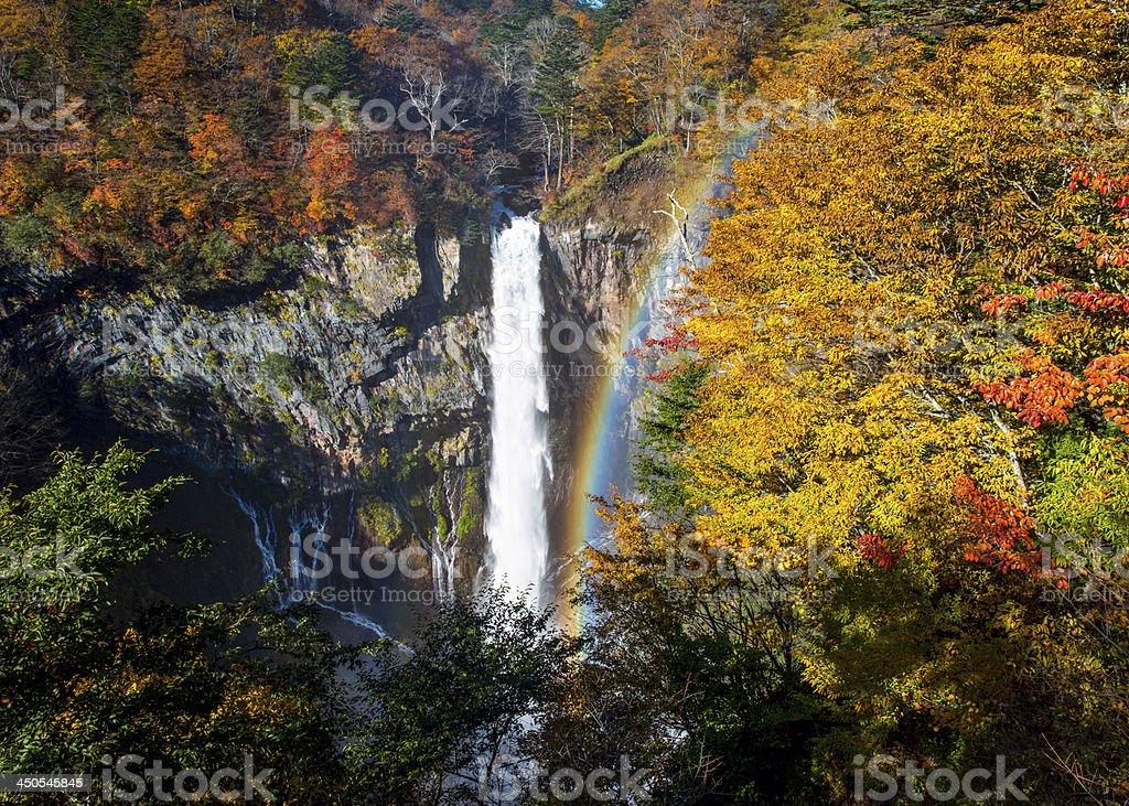 Kegon Waterfall in autumn with rainbow stock photo