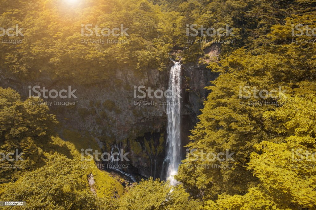 Kegon waterfall located in National Park at nikko, japan. stock photo