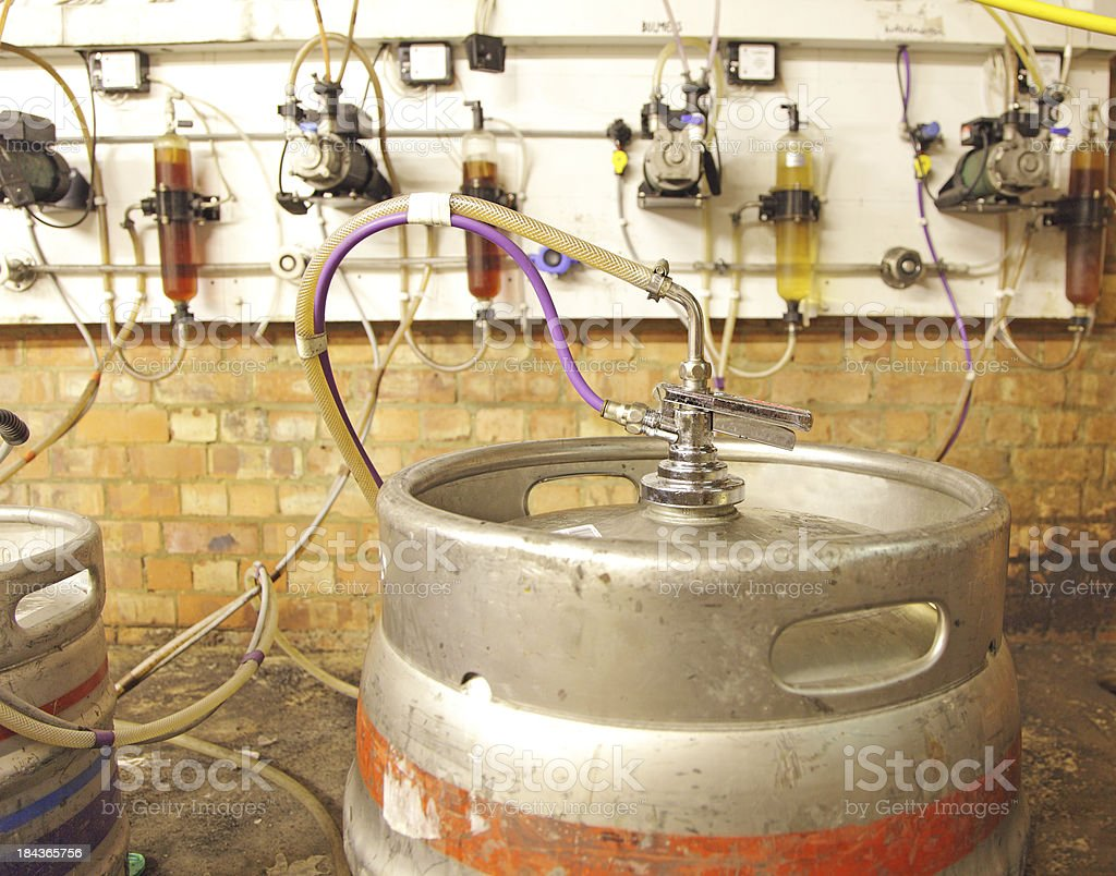 kegs of beer in a cellar royalty-free stock photo