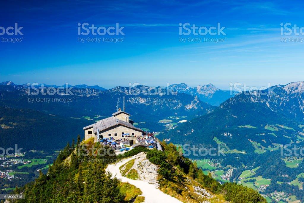 Kehlstein mit Kehlsteinhaus, Panorama Blick über Berchtesgaden, 55MPx stock photo