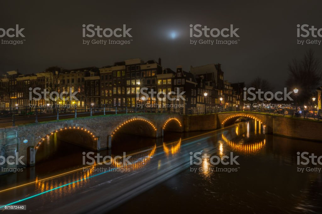 Keizersgracht and Reguliersgracht Canals at Night stock photo