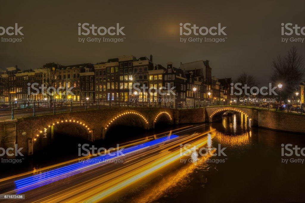 Keizersgracht and Reguliersgracht Light Trails stock photo