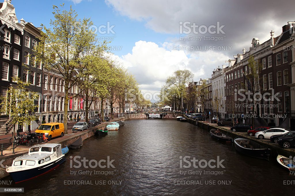 Keizersgracht canal bridges in Amsterdam, Netherlands stock photo