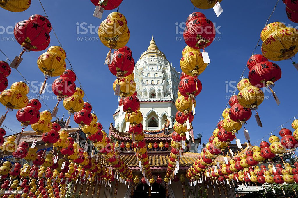 kek lok si chinese new year lantern stock photo