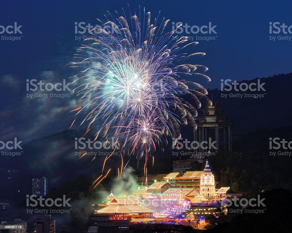 Kek Lok Si Temple with fireworks stock photo