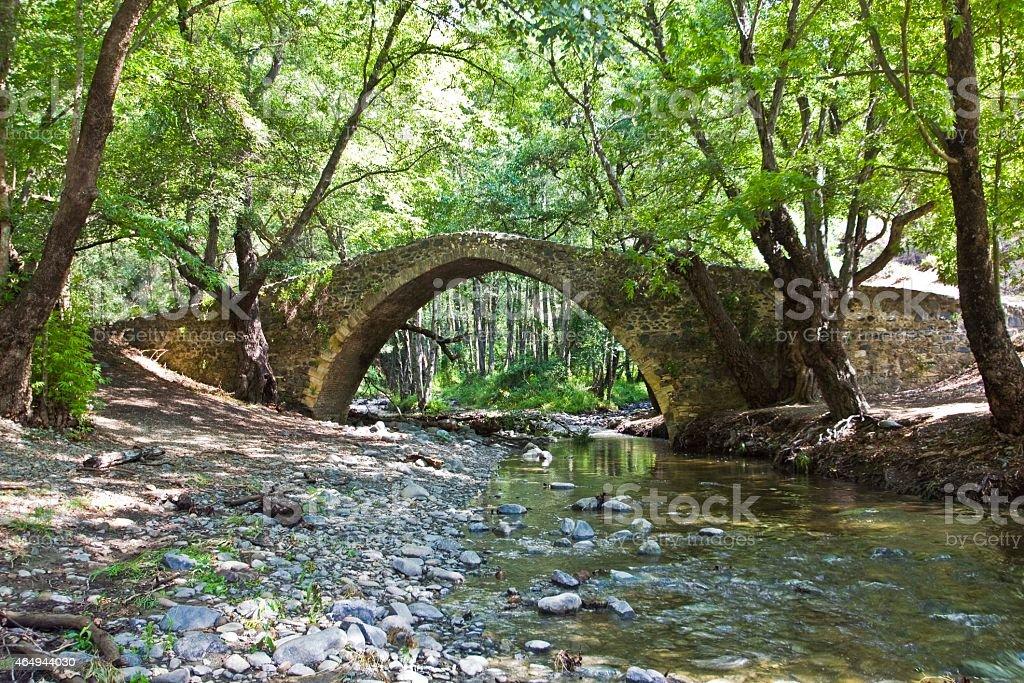 Kelefos medieval (venetian) bridge at Paphos forest Cyprus stock photo