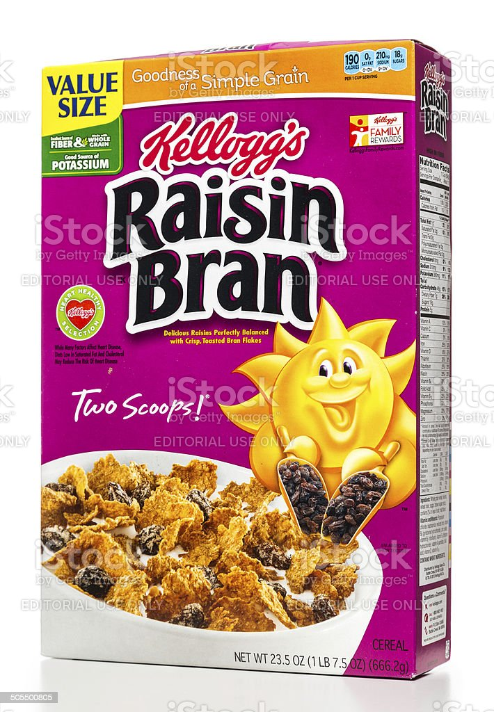 Kellogg's raisin bran cereal box stock photo
