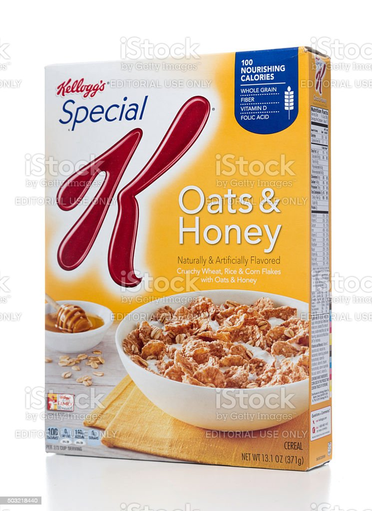 Kellogg's Special Oats & Honey cereal box stock photo