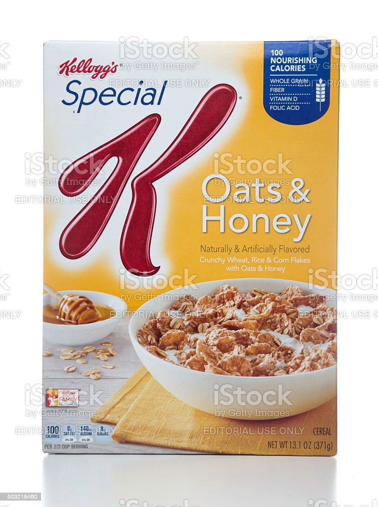 Kellogg's Special Oats & Honey cereal package stock photo