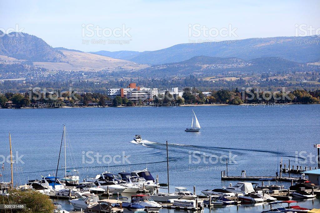 Kelowna BC Hospital Lakeside With Boats stock photo