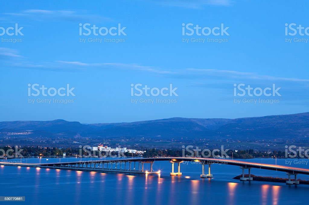 Kelowna Bennett Bridge at night Lake Okanagan stock photo