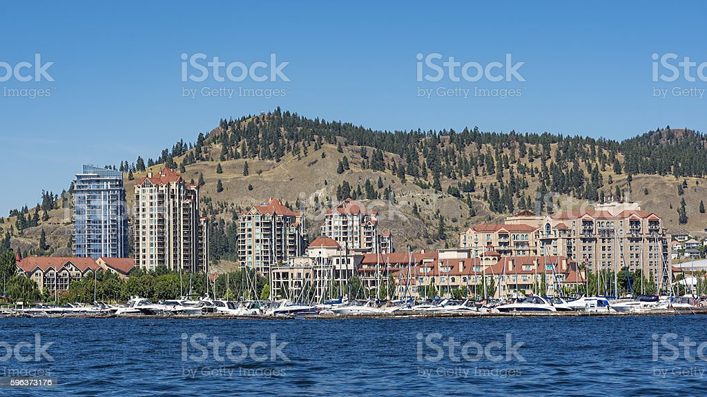 Kelowna Skyline Okanagan Lake Kelowna British Columbia Canada stock photo