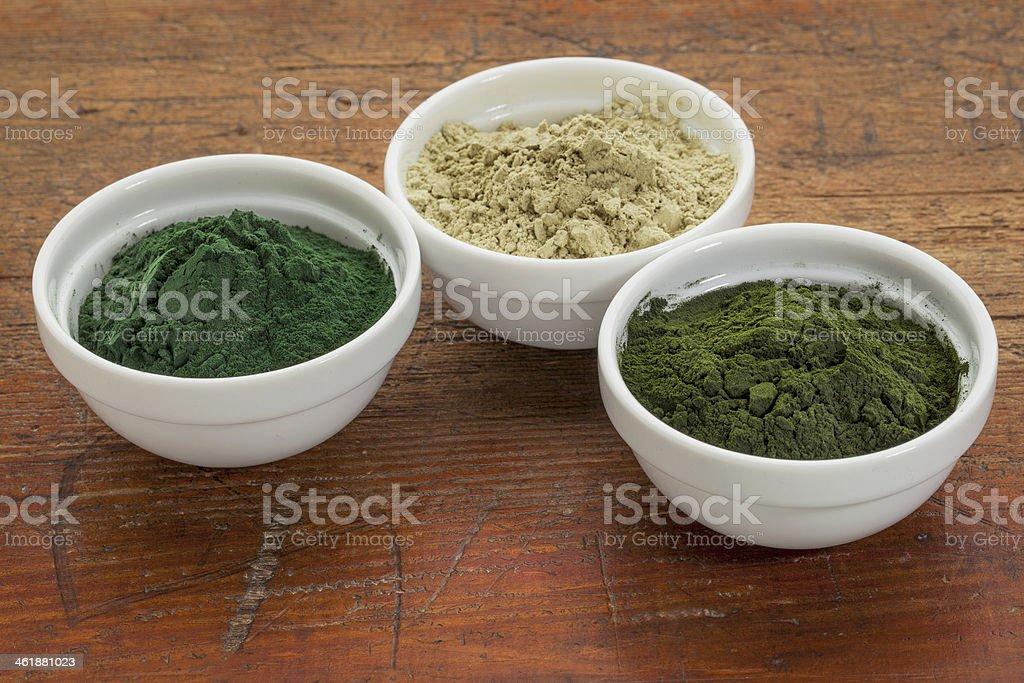 kelp, spirulina and chlorella stock photo