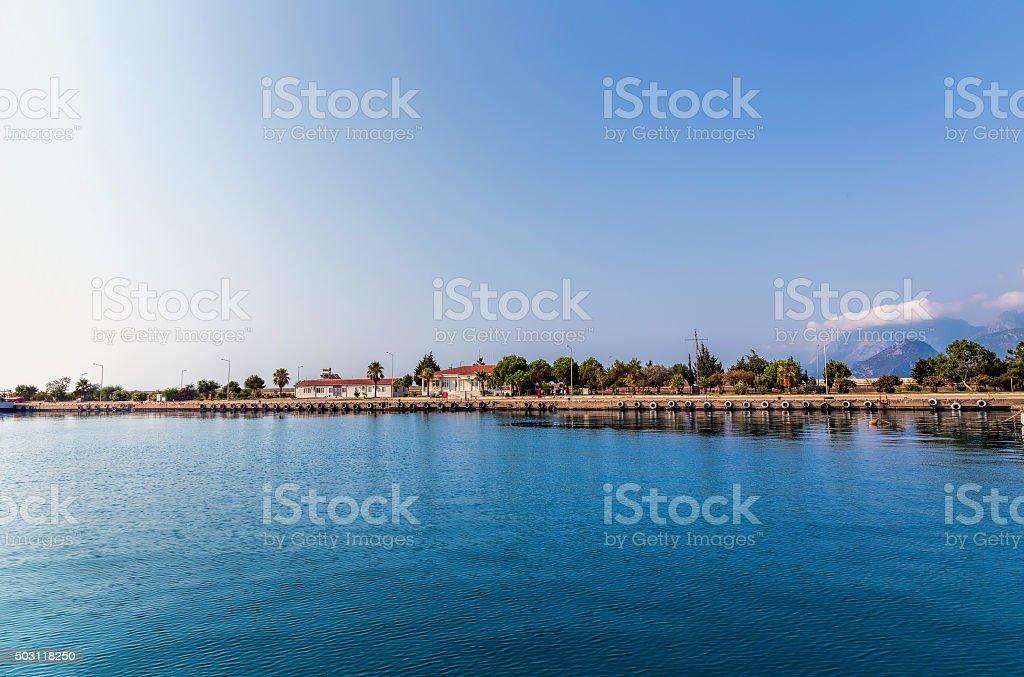 Kemer seaside. View of Mediterranean coast Antalya, Turkey stock photo