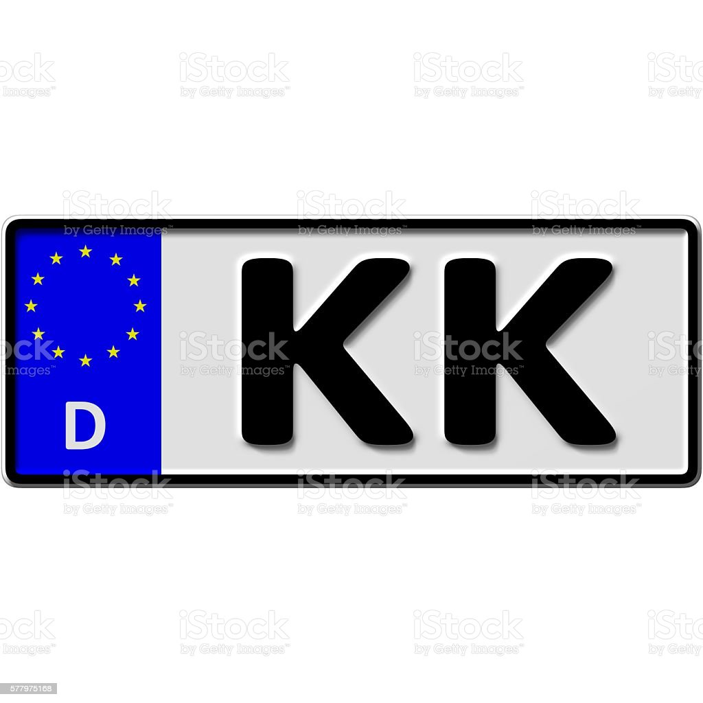 Kempen-Krefeld license plate number stock photo