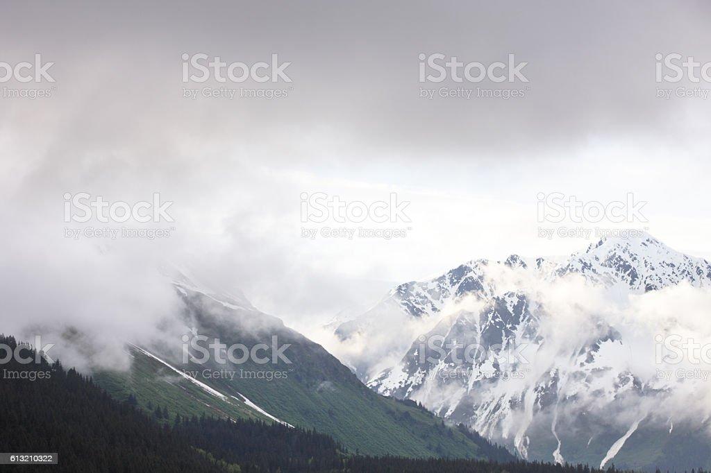 Kenai Mountain Range Peaks Treeline Fog Mist stock photo