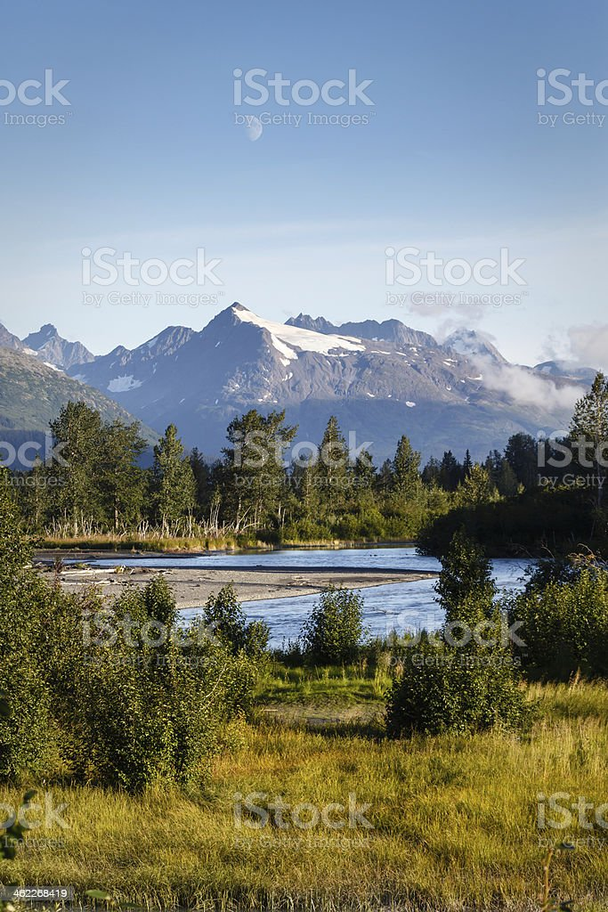 Kenai River bends and twists way down from mountains Alaska stock photo