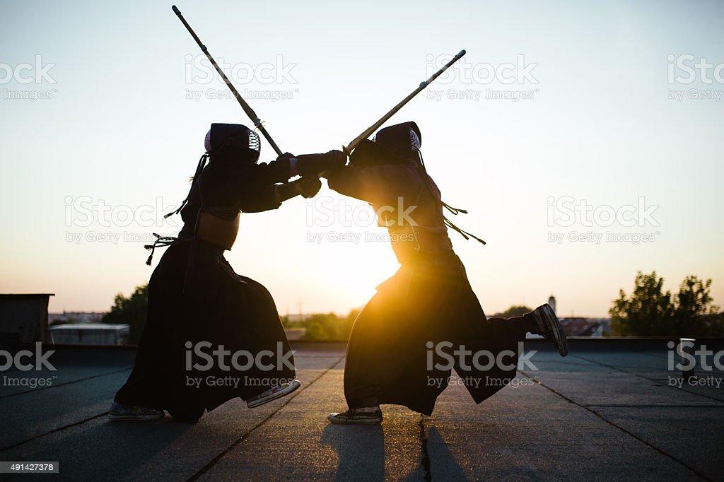 Kendo battle stock photo