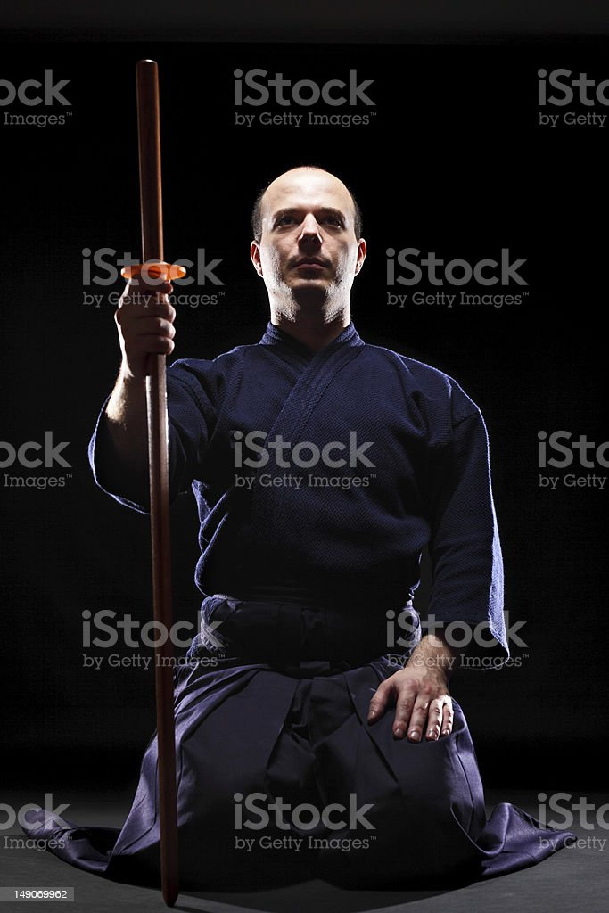 Kendo fighter with Bokken royalty-free stock photo
