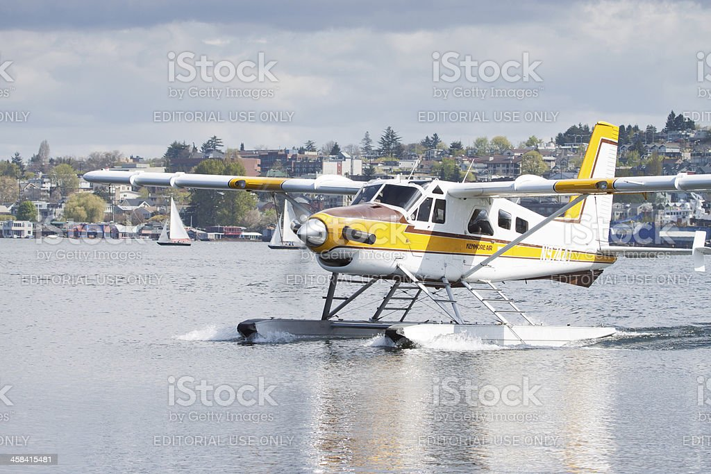Kenmore Air Taxiing to Dock stock photo