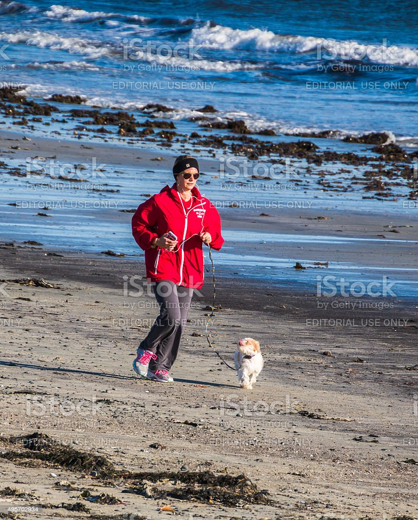 Kennebunkport Beach Jogger stock photo