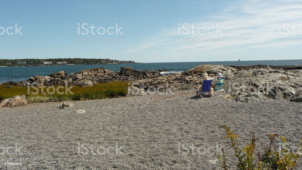 Kennebunkport, Maine Beach and Rocks stock photo
