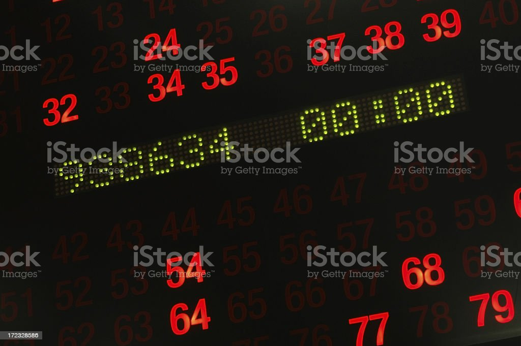 Keno results board stock photo