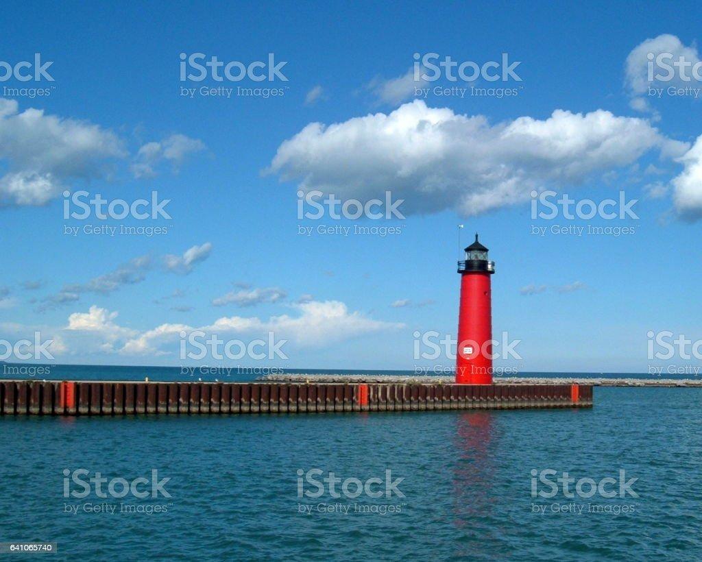 Kenosha North Pier lighthouse stock photo