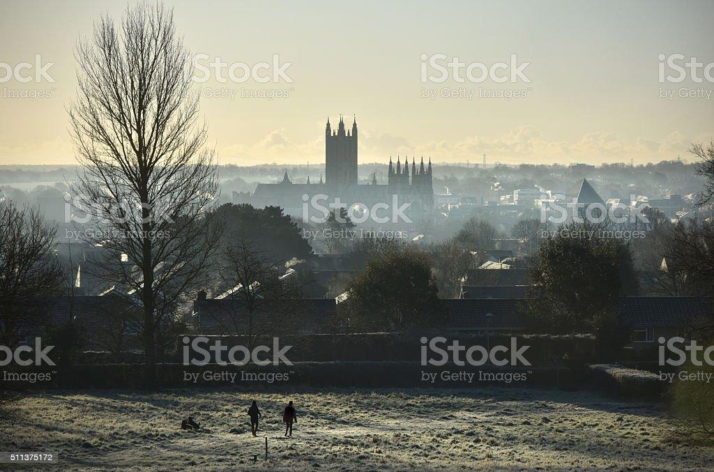 Kent frosty dawn stock photo