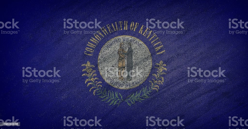 Kentucky flag painted with colored chalk on a blackboard. stock photo