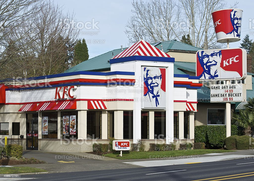 KFC Kentucky Fried Chicken Restaurant Portland Oregon Entrance and signs royalty-free stock photo