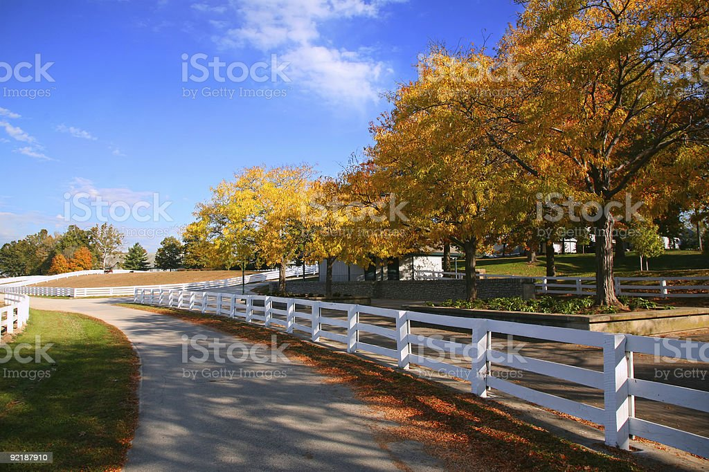 Kentucky Horse Farm, White Fence royalty-free stock photo