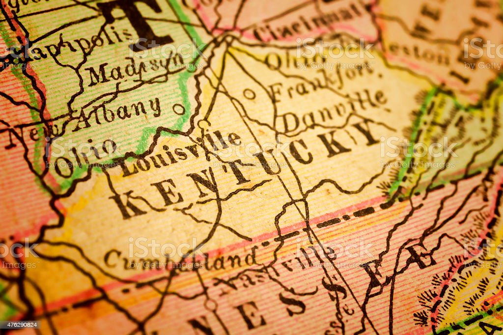 Kentucky State on an Antique map stock photo
