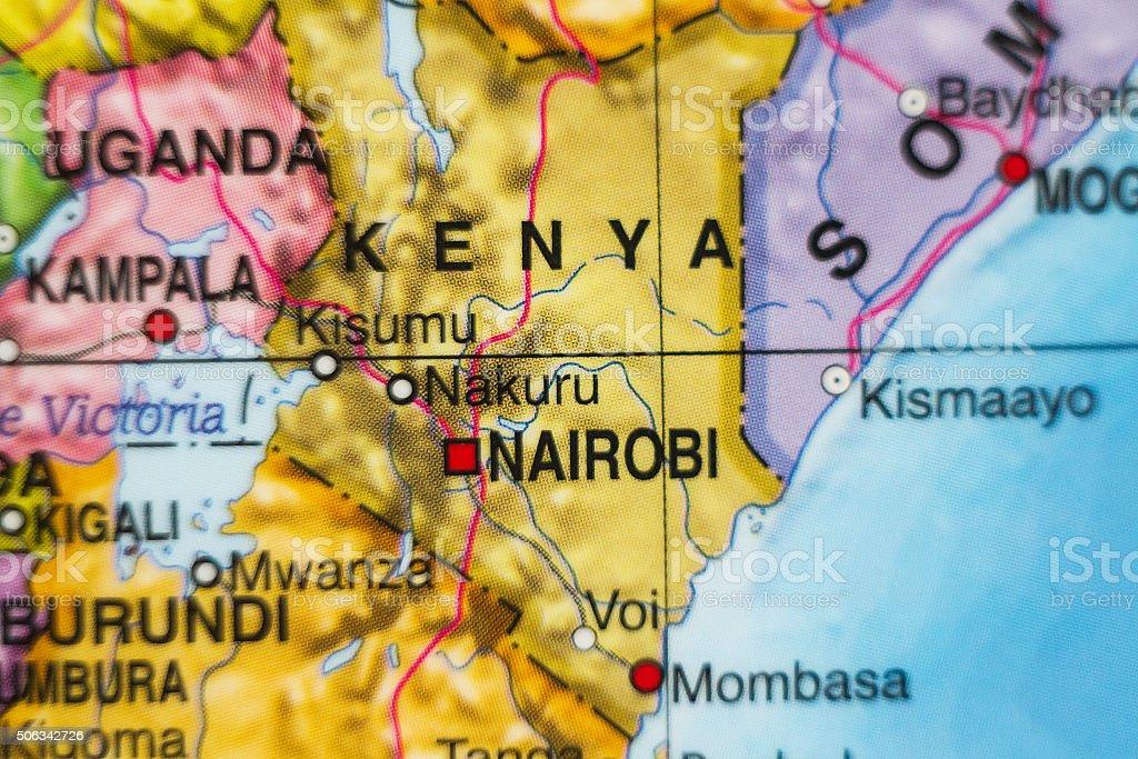 Kenya country map . stock photo