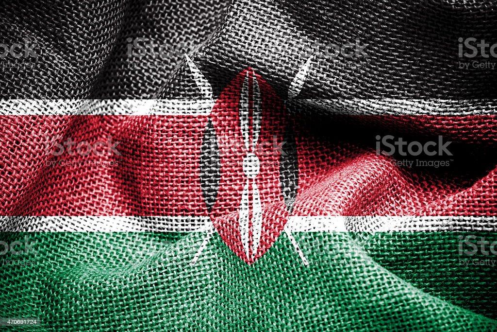 Kenya flag on fabric surface stock photo
