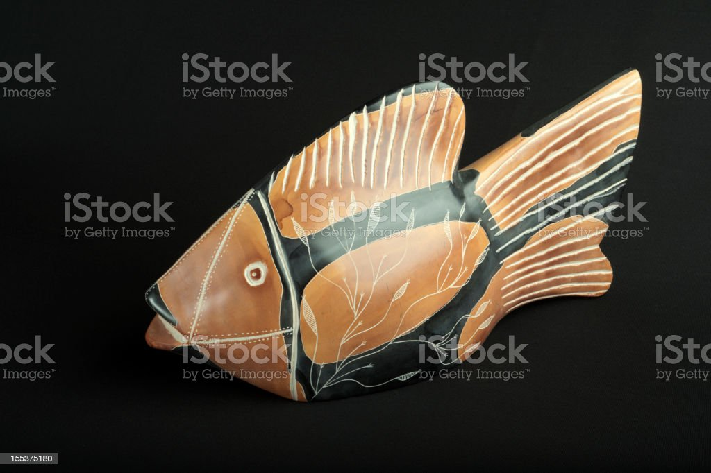 Kenyan handcarved soapstone fish sculpture stock photo