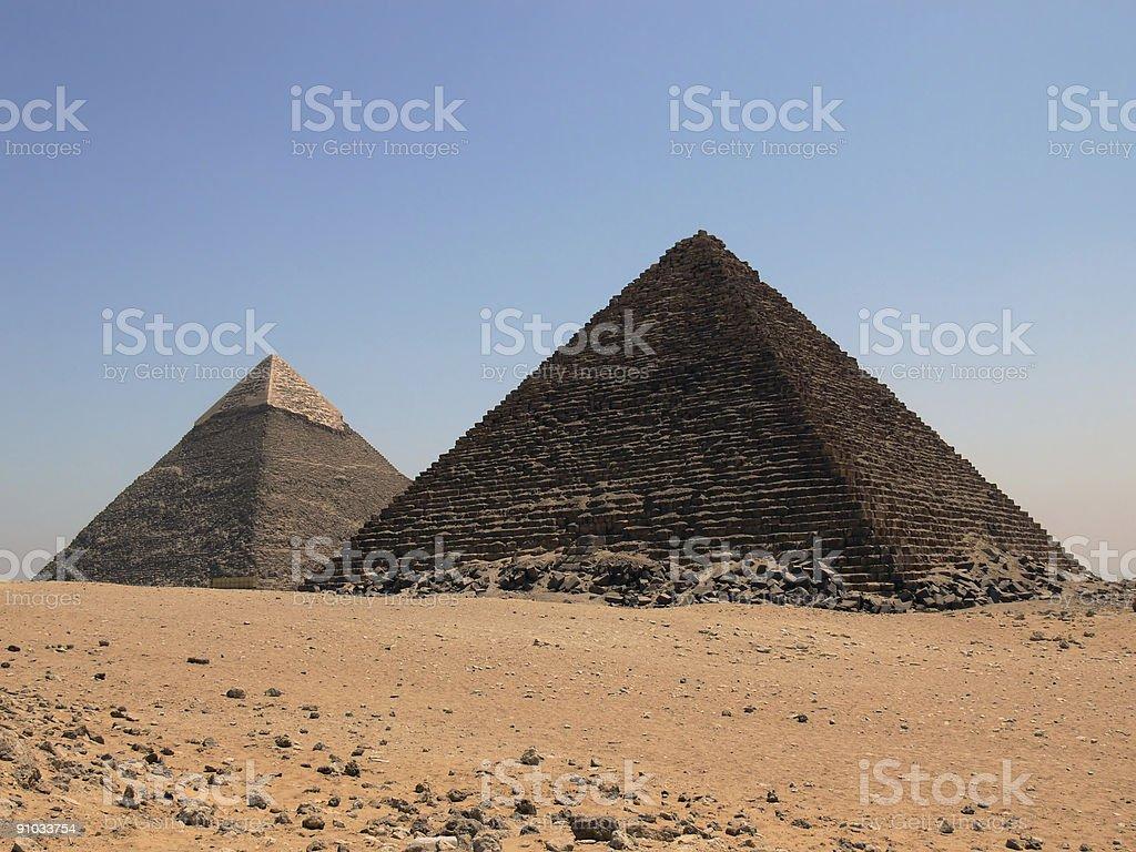 Keops and Micerinos Pyramids royalty-free stock photo