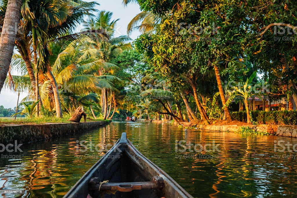 Kerala backwaters  canoeing stock photo