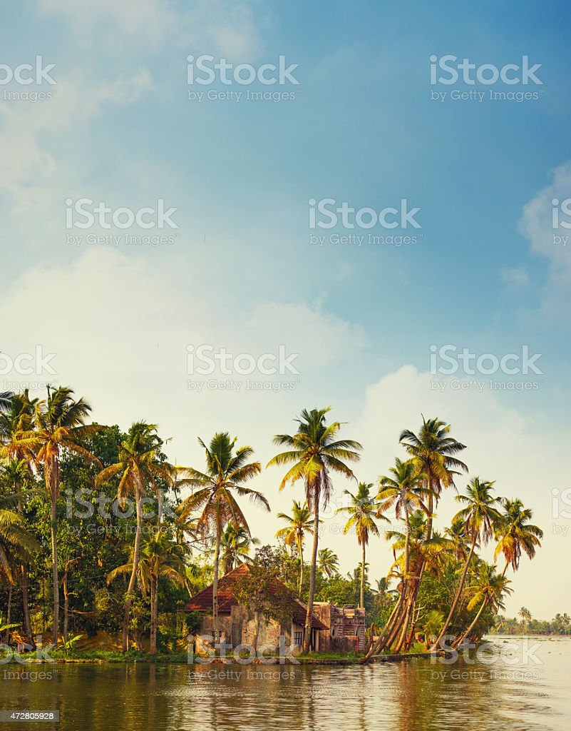 Kerala canal southern India stock photo