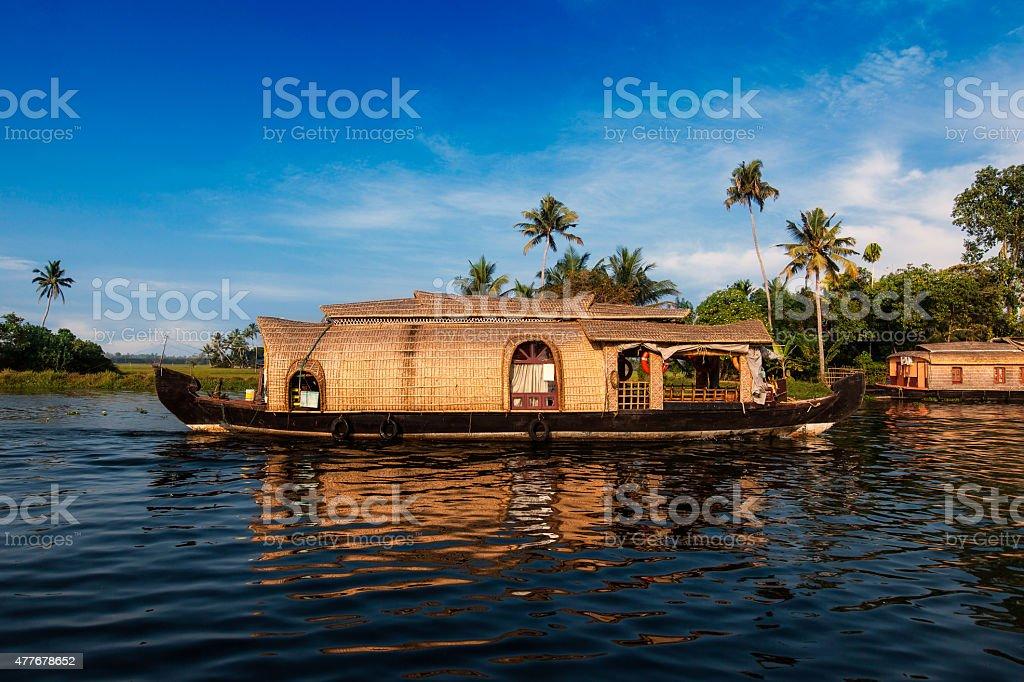 Kerala Houseboat, India. stock photo