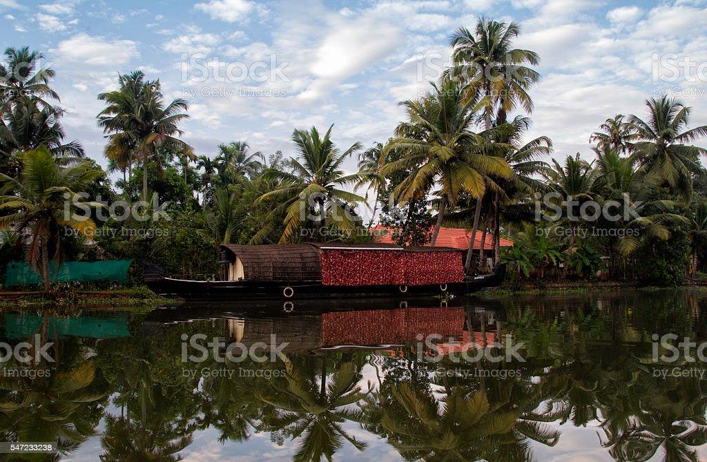 Kerala Houseboat, India stock photo