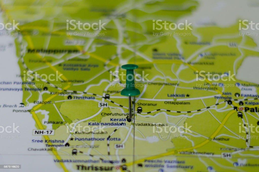 Kerala Kalamandalam map stock photo