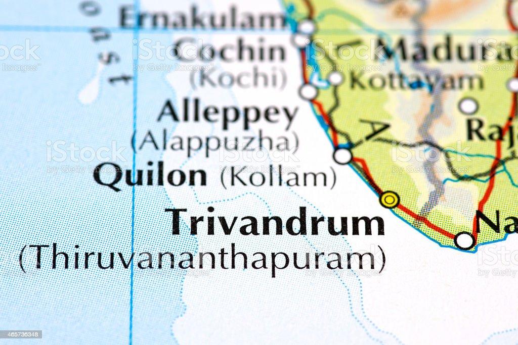 Kerala map close up stock photo