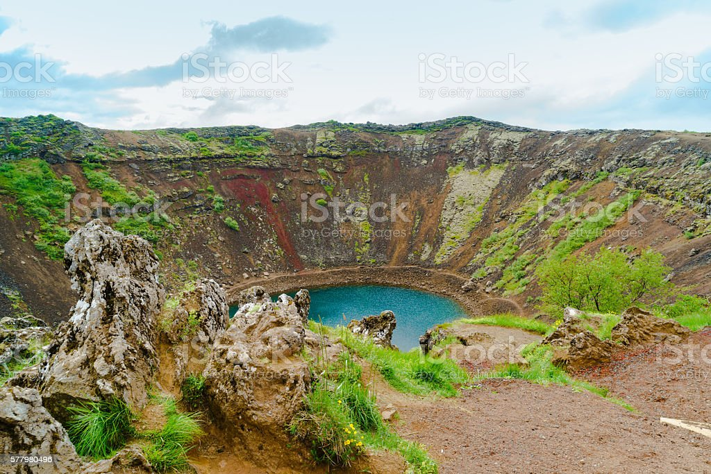 Kerid a lake filled volcanic crater stock photo