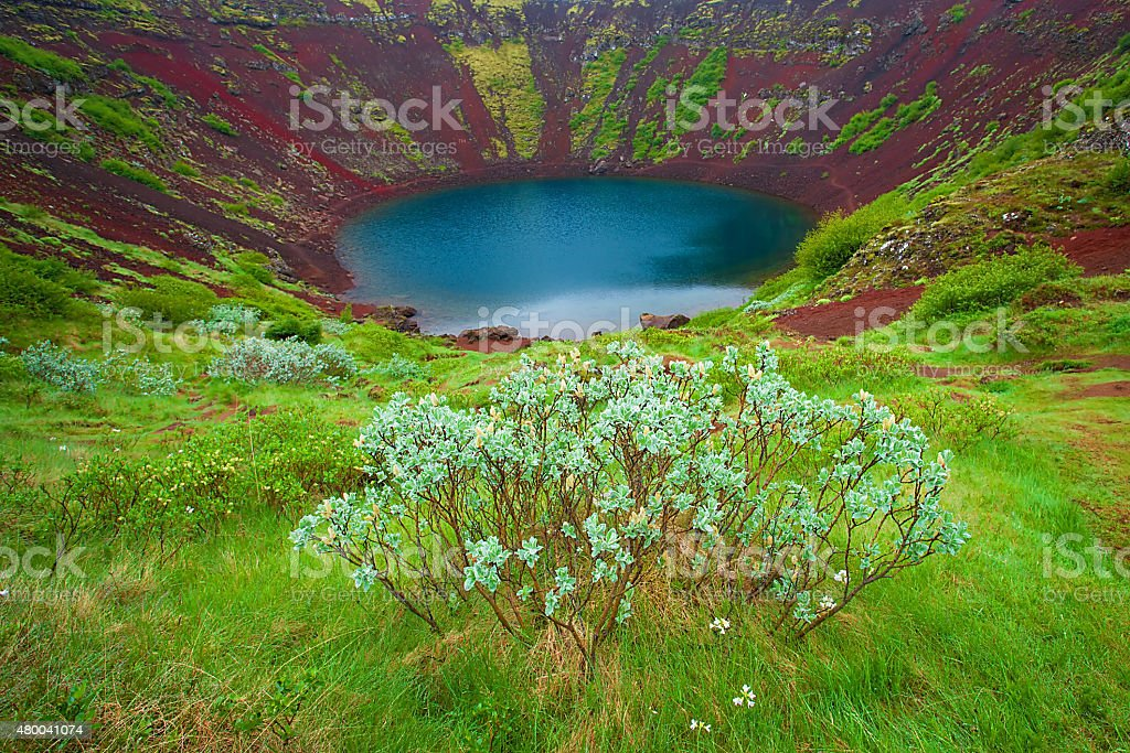 Kerid is crater lake located on South of Iceland. stock photo