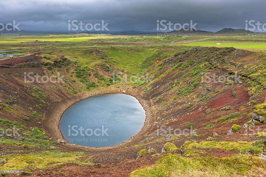 Kerith Volcano Crater in Iceland stock photo